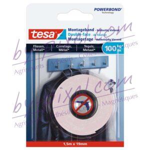 tesa-powerstrips-lisse-double-face-de-fixation-carrelage-metal-100kg-1-5mx19mm