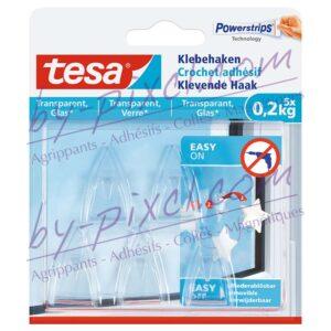 tesa-powerstrips-transparente-et-verre-crochets-adhesifs-0-2kg