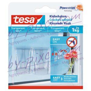 tesa-powerstrips-transparente-et-verre-crochets-adhesifs-1kg