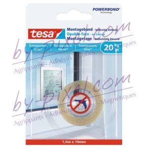 tesa-powerstrips-transparente-et-verre-double-face-de-fixation-1-5mx19mm