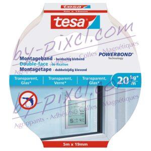 tesa-powerstrips-transparente-et-verre-double-face-de-fixation-5mx19mm